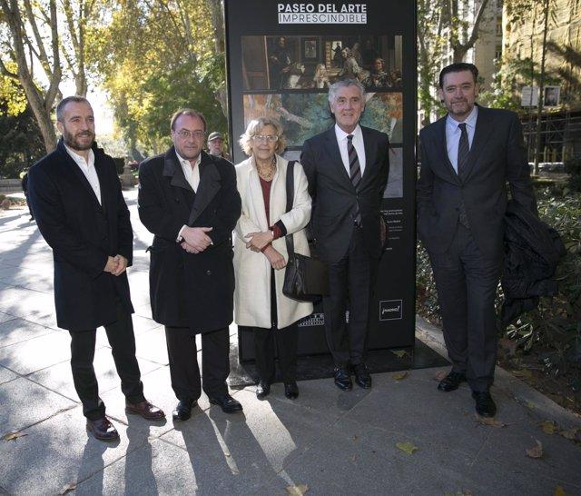 Carmena con los representantes de los tres museos