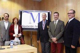 González, Gómez, López, Padilla y Pierard en rueda de prensa.