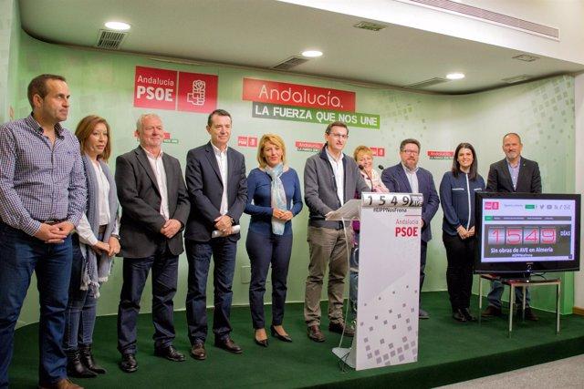 En el centro, el secretario del PSOE de Almería, José Luis Sánchez Teruel