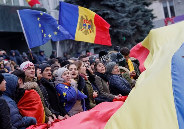 Manifestación de la oposición en Moldavia