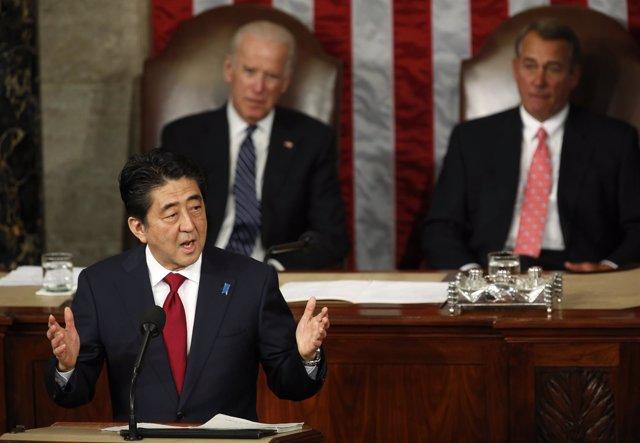 Shinzo Abe habla ante el Congreso de EEUU