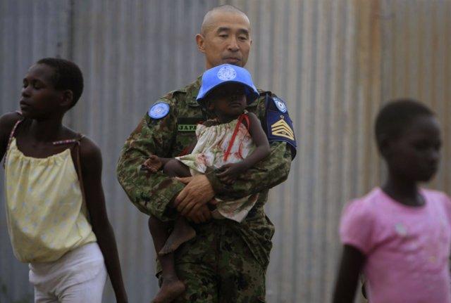 Soldado de Fuerzas Autodefensa de Japón en Sudán del Sur