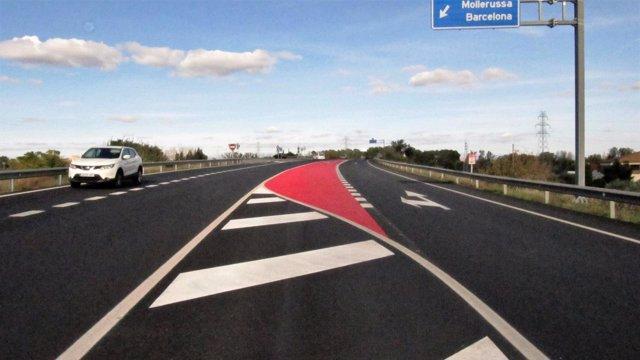 Carretera C-12 entre Lleida y Corbins