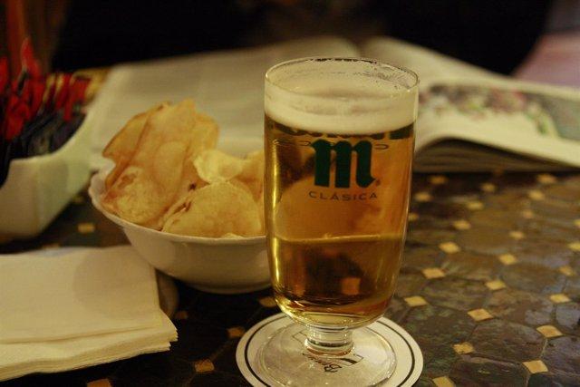 Cerveza, Mahou, caña, patatas, bar, tapa
