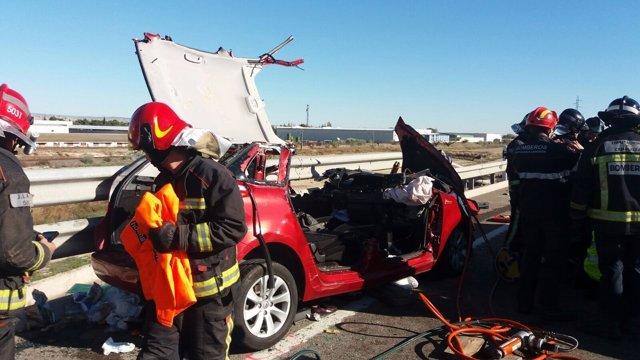 Accidente en la N-232, en El Burgo de Ebro ocurrido este lunes 14 de noviembre