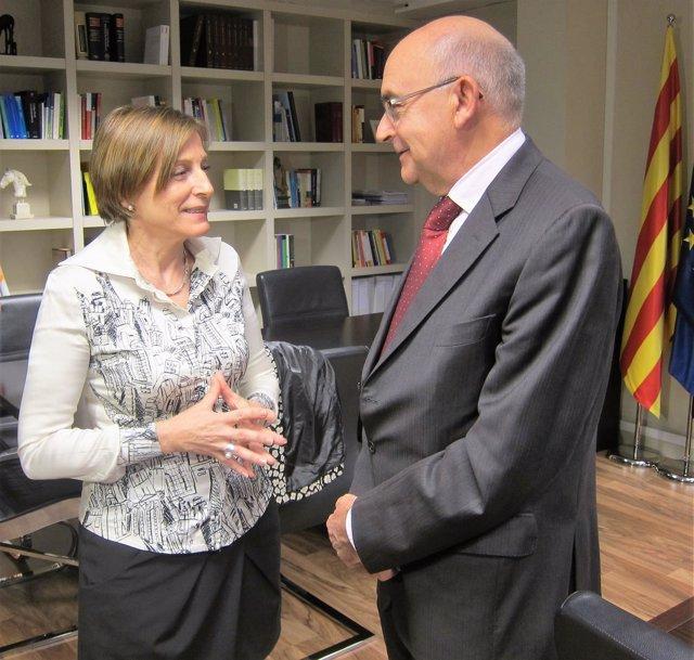 La pta.Del Parlament C.Forcadell, y el dtor.De la Oficina Antifrau de Catalunya