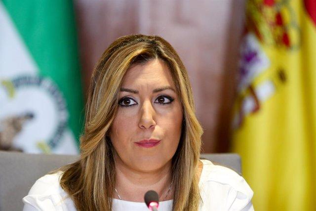Susana Díaz en la presentación del informe del sector aeroespacial de Andalucía