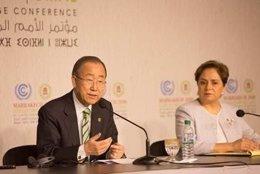Ban Ki Moon y Patricia Espinosa informan a los medios en la COP22