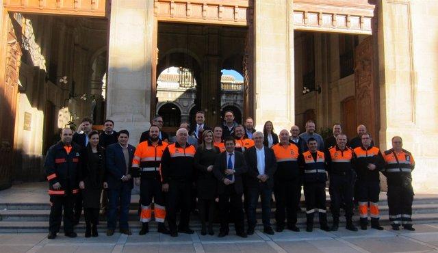 Reyes con alcaldes y responsables de Protección Civil de los once municipios.
