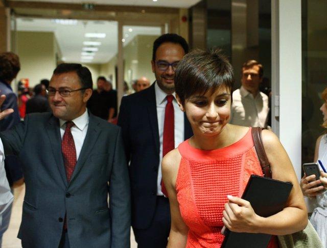 Miguel Angel Heredia, Antonio Hernando e Isabel Rodríguez, del PSOE