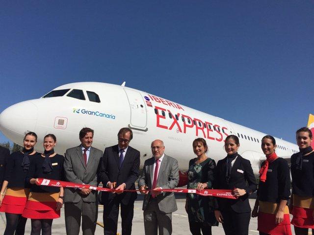 Bautizo del avión A321 entre Gran Canaria- Madrid de Iberia Express