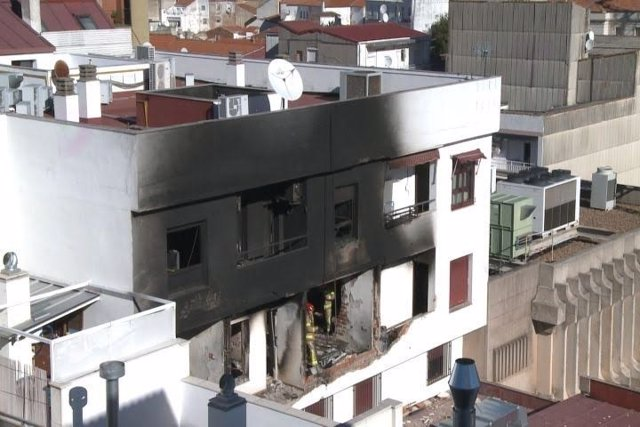 Edificio de Cáceres donde se produjo la explosión