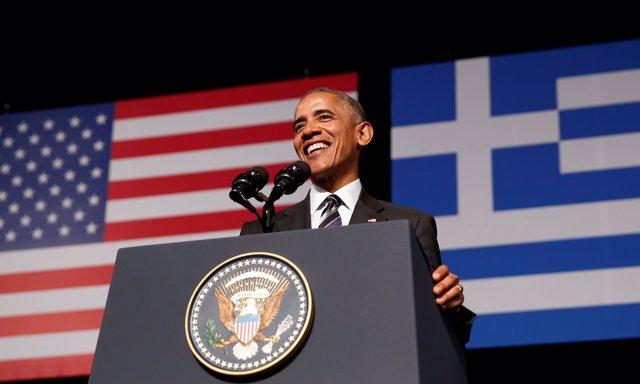 El presidente de EEUU, Barack Obama, pronuncia un discurso en Atenas