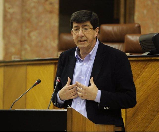 Juan Marín, en el pleno del Parlamento