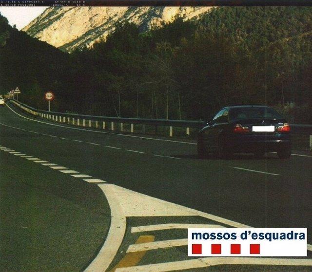 Vehículo a 206 kilómetros por hora en la C-14 a su paso por Peramola (Lleida)