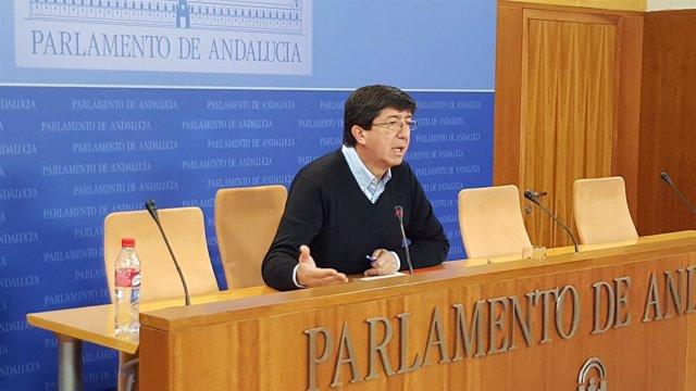 El presidente y portavoz de Ciudadanos en el Parlamento andaluz, Juan Marín