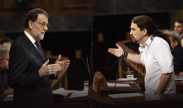 Rajoy y Pablo Iglesiasa en el Congreso