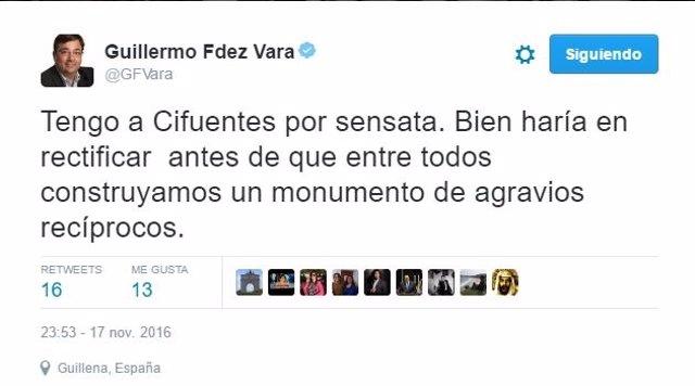 Tuit de Fernández Vara pidiendo a Cifuentes que rectifique