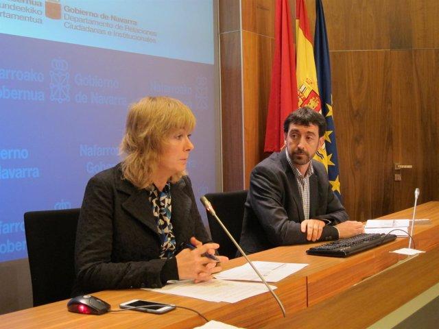 Ana Ollo y Álvaro Baraibar en la rueda de prensa
