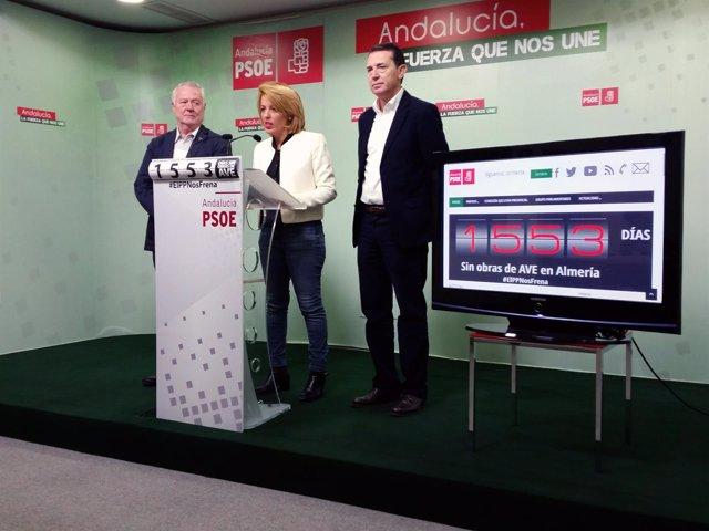 Rueda de prensa sobre el AVE, en la sede del PSOE