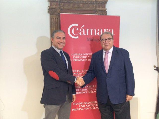 Elías Bendodo con Jerónimo Pérez Casero Málaga cámara comercio diputación acuerd