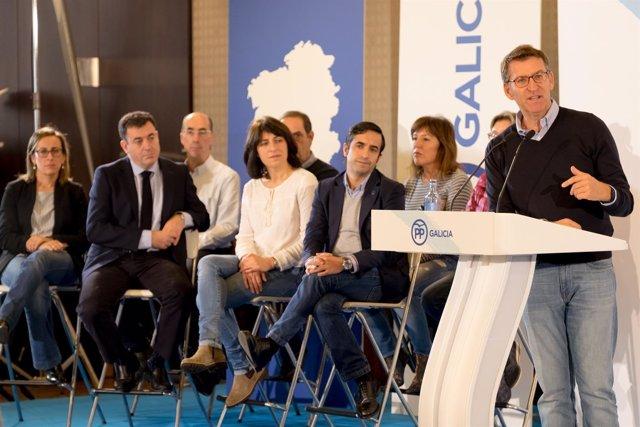 El líder del PPdeG, Alberto Núñez Feijóo, en la Junta Directiva de su partido