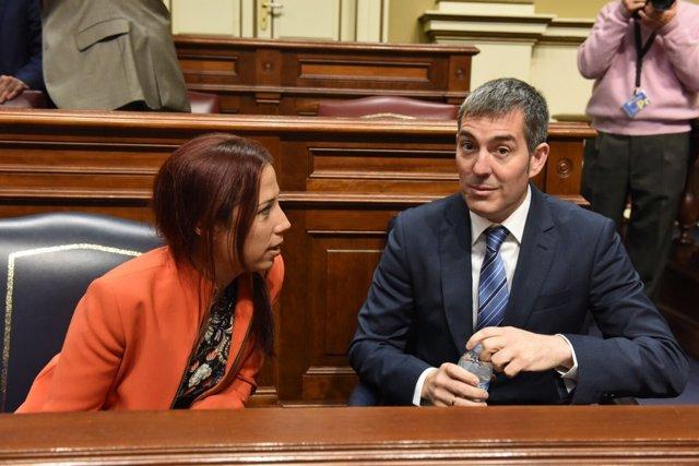 Fernando Clavijo y Patricia Hernández