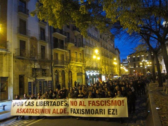 Manifestación en Pamplona por las libertades y contra el fascismo