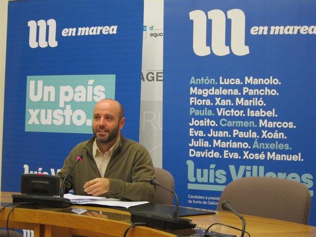 El portavoz parlamentario de En Marea, Luís Villares, en rueda de prensa