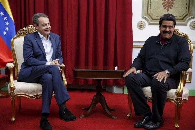 Zapatero y Maduro se reúnen en el Palacio de Miraflores