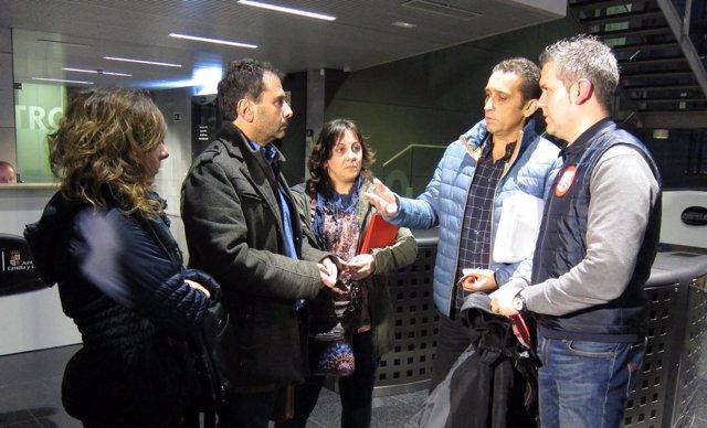 Responsables sindicales tras la reunión de Anclaje sobre Lauki