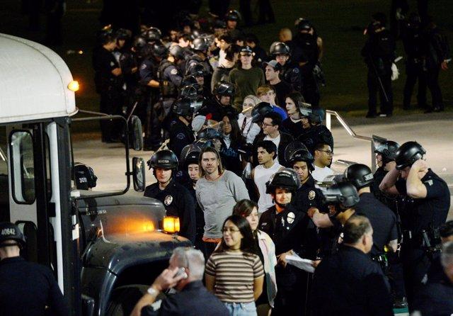 Detenidos tras una manifestación contra Trump