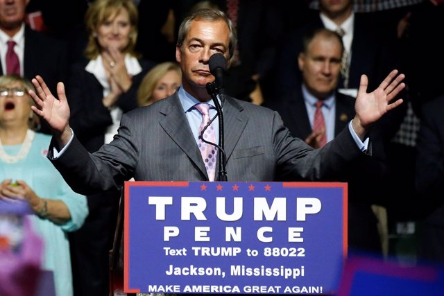 Nigel Farage en un mítin de Donald Trump