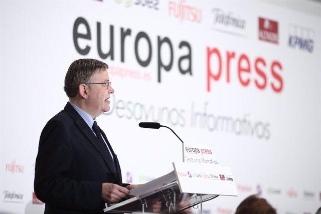 Ximo Puig protagoniza un desayuno informativo organizado por Europa Press