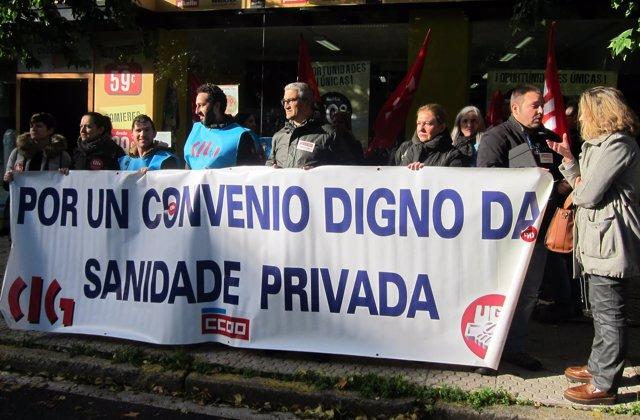 Protesta de trabajadores de la sanidad privada