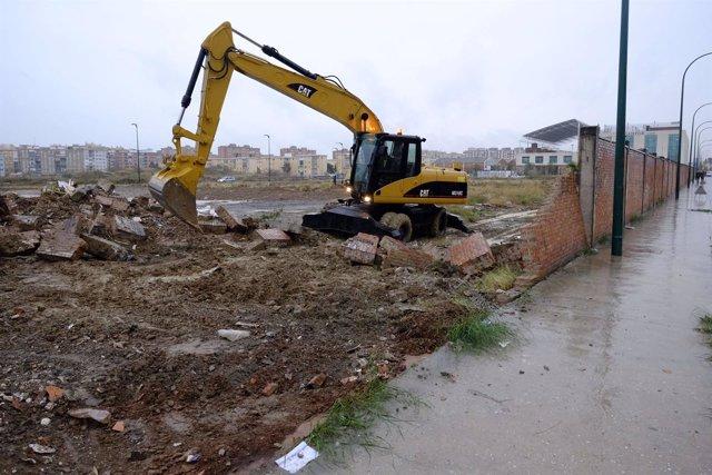 Derribo del muro en calle Bodegueros