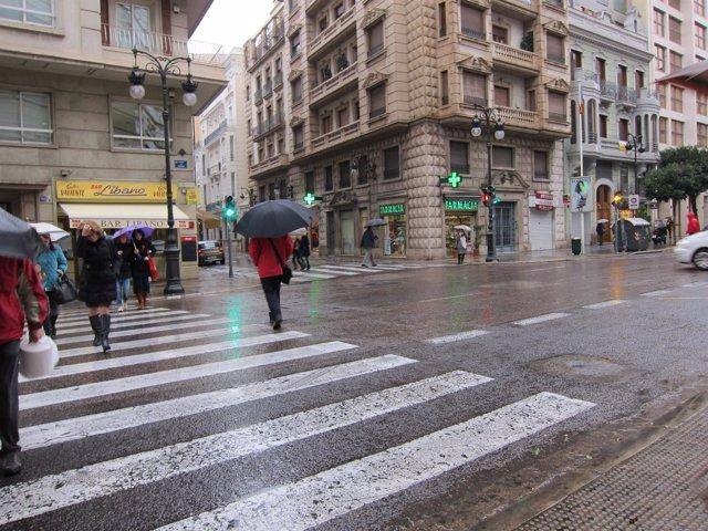 Imagen de lluvia en la ciudad de Valencia