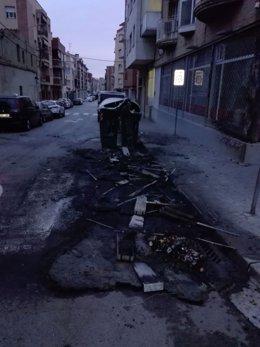 Una de las zonas afectadas por quema de coches en Sabadell