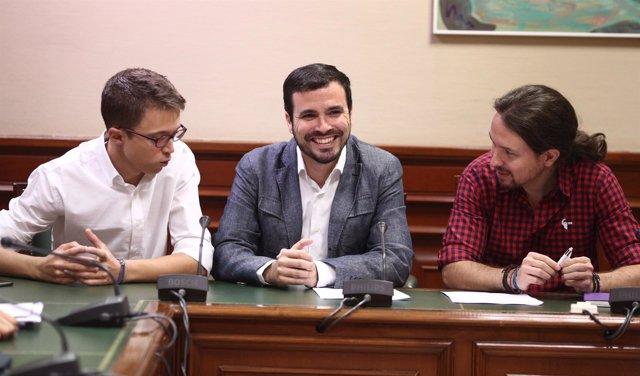 Errejón, Garzón y Pablo Iglesias en el Congreso