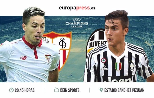 Horario y dónde ver el Sevilla - Juventus | Fase de grupos Champions League