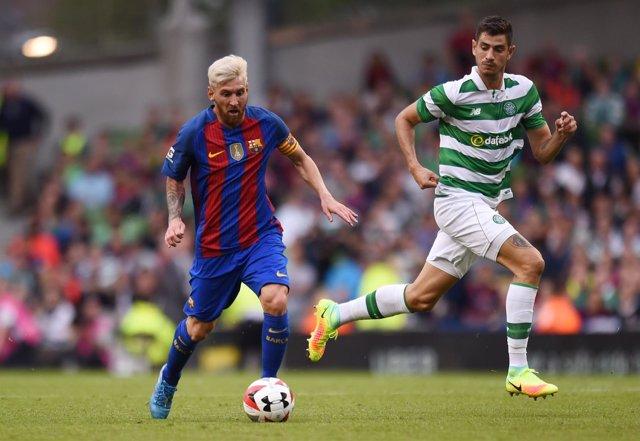 Lionel Messi en el amistoso entre el Barcelona y el Celtic
