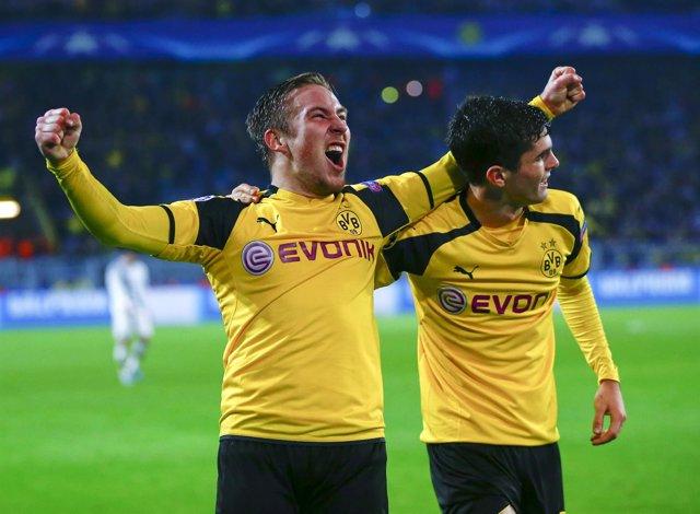 El Dortmund celebra el triunfo en champions