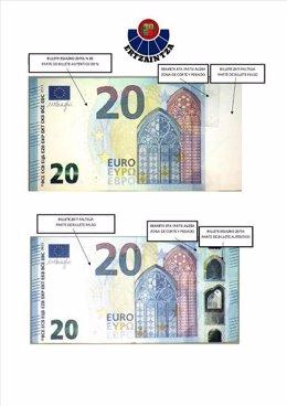 Billete falso de 20 euros