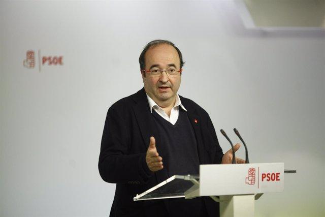 Rueda de prensa de Miquel Iceta en Ferraz
