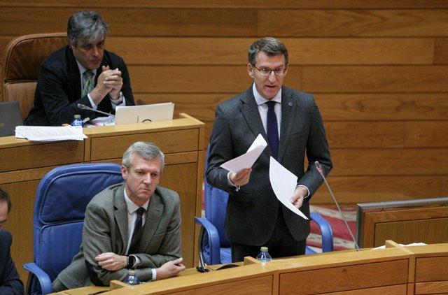 Alberto Núñez Feijóo, presidente de la Xunta, en el Parlamento