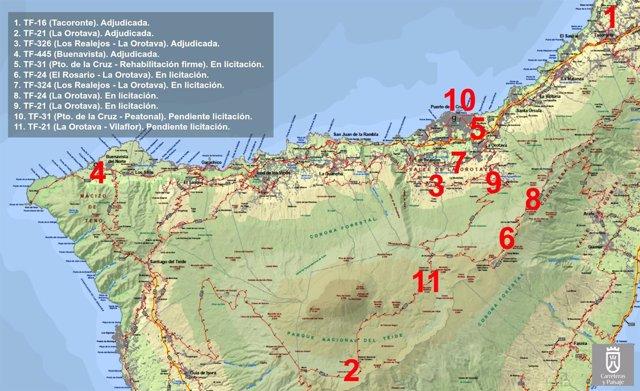 Actuaciones en las carreteras del norte de Tenerife