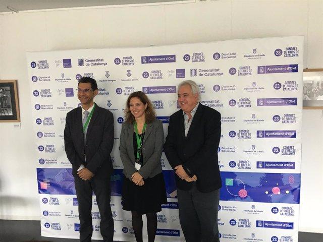 R.Ferrando, M.Vilalta y J.MCorominas, este miércoles en Olot