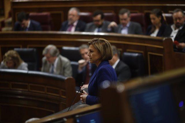Cospedal durante la sesión de control al Gobierno en el Congreso