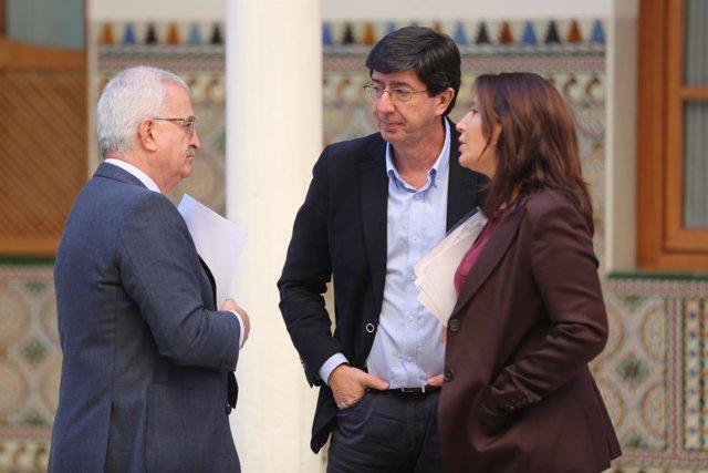 Manuel Jiménez Barrios, Juan Marín y Carmen Crespo, hoy en el Pleno