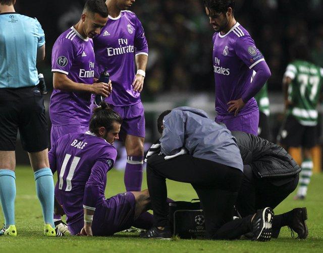 Bale en el momento de su lesión ante el Sporting